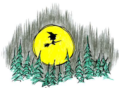 a cartoon monkey witch flying past the moon on halloween night