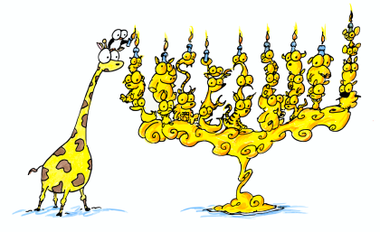 cartoon animal menorah with a penguin and giraffe lighting the candles