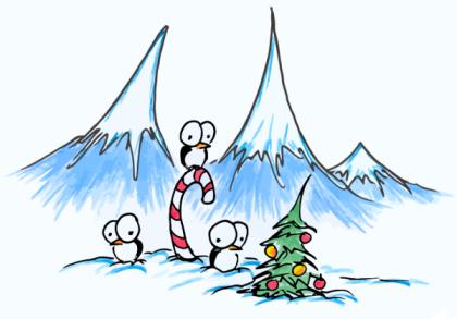 cartoon penguins at christmas