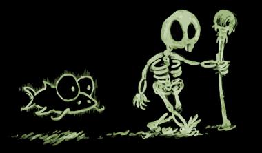 cartoon skeleton walking with his ghost catfish