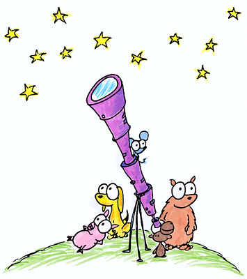 illustration of a monkey, pig, yellow dog, mouse, and bear looking through a telescope at stars for an astronomy program