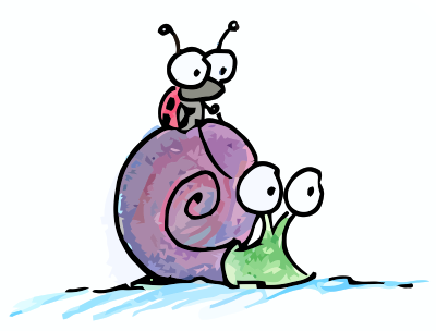 cartoon illustration of ladybug riding on a snail