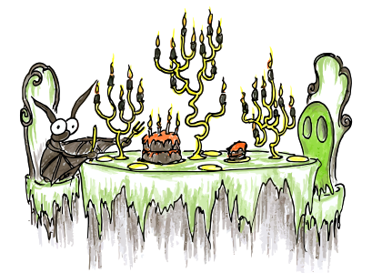 cartoon drawing of a bat and a ghost having halloween cake at a table with candles in candelabras