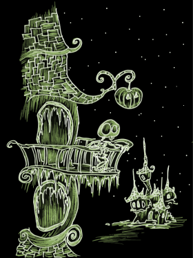 cartoon drawing of a skeleton standing on a balcony with a pumpkin light