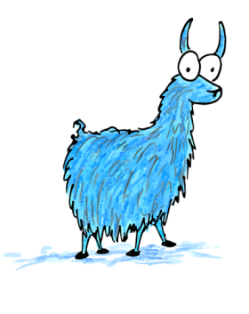 cartoon drawing of a blue llama