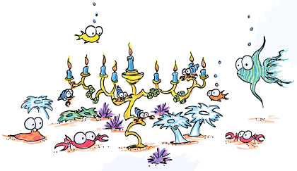 cartoon illustration of crabs, anemone, fish, hermit crabs, and urchins celebrating hannukah with a menorah
