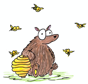 cartoon illustration of a brown bear and a beehive with bees