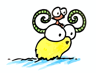 cartoon illustration of a monkey riding a yellow yak