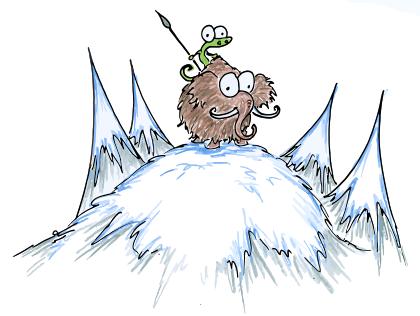 cartoon illustration of an alligator sitting atop a woolly mammoth on an icy peak with a spear