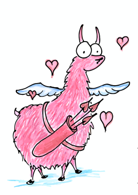 a valentine's llama