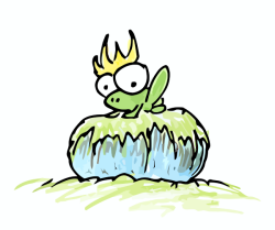 a drawing of a frog, possibly a prince, wearing a crown and sitting on a rock