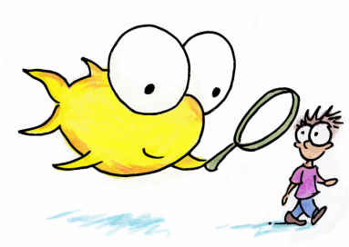 drawing of a fish with a magnifying glass looking at a kid