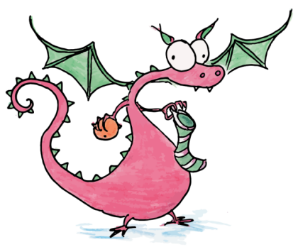 drawing of a christmas dragon filling a christmas stocking with an orange