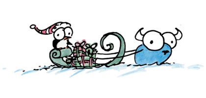 drawing of a penguin riding on a sleigh with presents being pulled by a bluebison