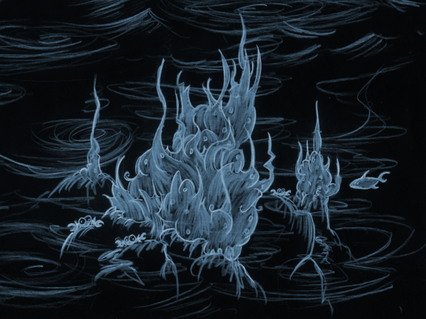 illustration of a crab castle at night underwater