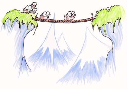 illustration of a family of guinea pigs crossing a bridge in the mountains