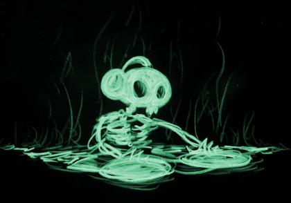 illustration of a a skeleton dj logo
