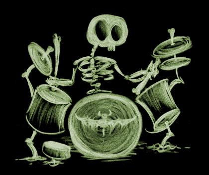 illustration of a drummer skeleton