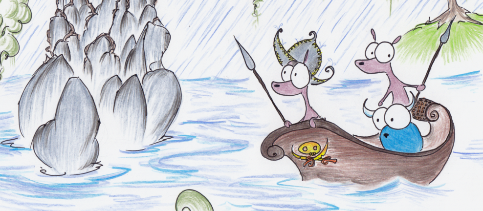 illustration of two mongooses and a blue bison in a boat in the rain