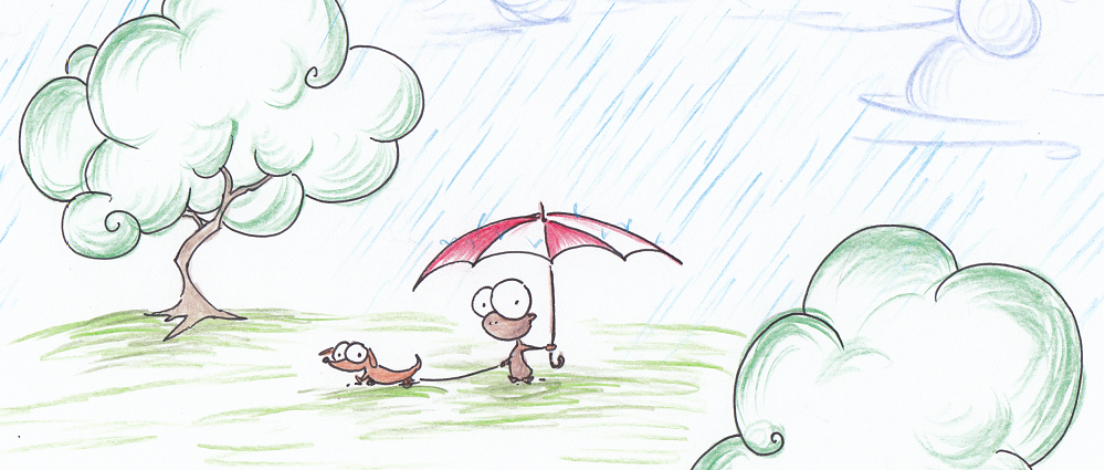 illustration of a monkey with an umbrella walking a wiener dog in the rain