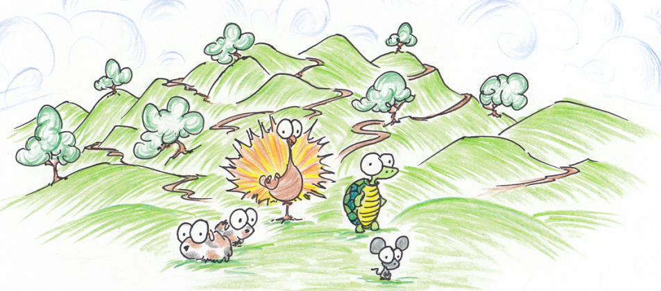 illustration of a turkey, guinea pigs, turtle, and a mouse in the hills