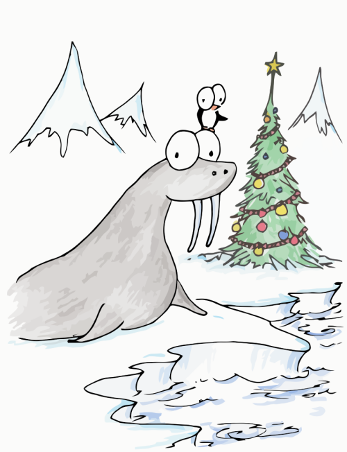 illustration of a christmas penguin and walrus