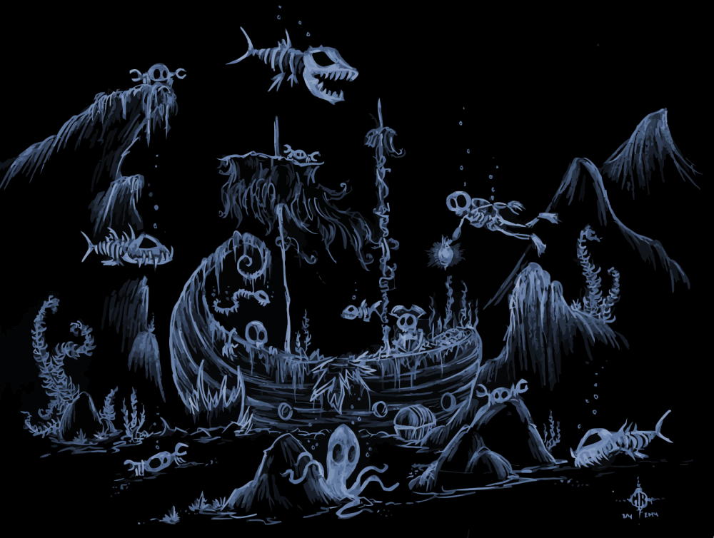 illustration of skeleton pirate ship with skeleton fish all around